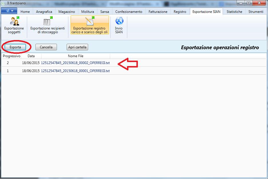 Esportazione delle operazioni registro